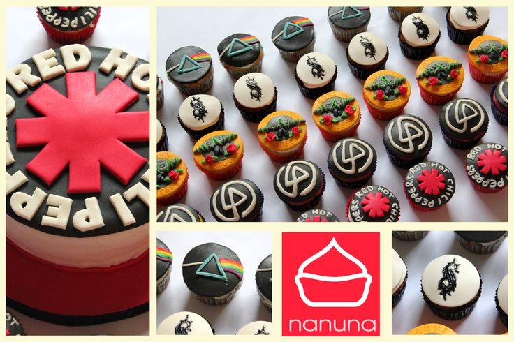Cupcakes y mini torta Red hot chili peppers. Cupcakes Slipknot, Pink Floyd, Guns n Roses, Linkin Park. #Cupcakes #Cakes #Sweet #Argentina #Nanuna Conocenos en http://nanuna.com.ar/