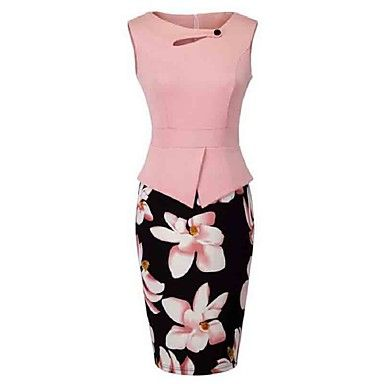 Mulheres+Bainha+Vestido,Casual+/+Tamanhos+Grandes+Vintage+Floral+Decote+Redondo+Altura+dos+Joelhos+Sem+Manga+Rosa+/+Vermelho+/+Amarelo+–+BRL+R$+57,76