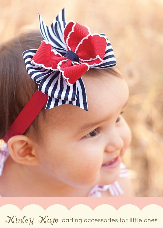 Baby Headband, 4th of July, Baby Bow Moonstitch Stripes, 4th of July Boutique…