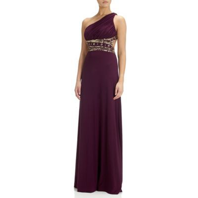 Hailey Logan Eggplant one shoulder sequin Grecian dress- at Debenhams.com