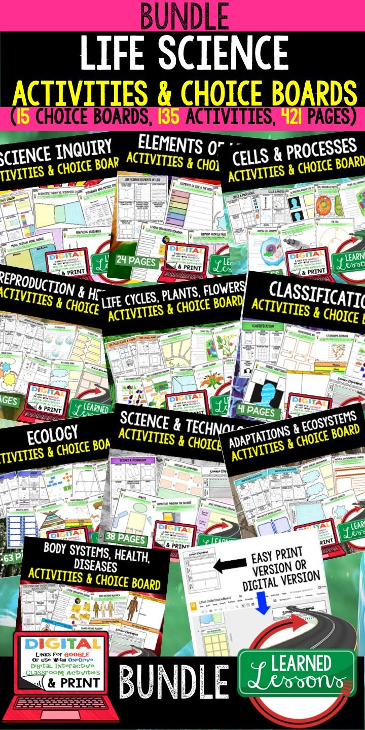 Elements of Life Activities, Cells Activities, Reproduction Lesson, Heredity Lesson, Plants Lesson, Life Cycle Lesson, Ecology Lesson, Adaptation Lesson, Body Systems Lesson, Life Science Choice Boards, Next Generation Science Standards, Life Science Notebooking,  Life Science Activities,  Life Science Lessons,  Life Science Middle School,  Life Science High School,  Life Science Ideas, Back to School, End of year, End of Semester, High School, Middle School, High School Lessons, Middle…