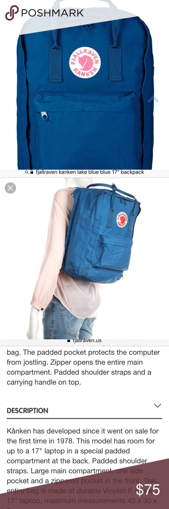 "Water resistant Fjallraven Kanken backpack LAKE BLUE! Barely used for two weeks, could use a little clean up. It's really like new. I decided the design wasn't for me. Designed for 15""-17"" laptops with a compartment just for your laptop. Includes a side pocket for water bottle. Fjallraven Bags Backpacks"