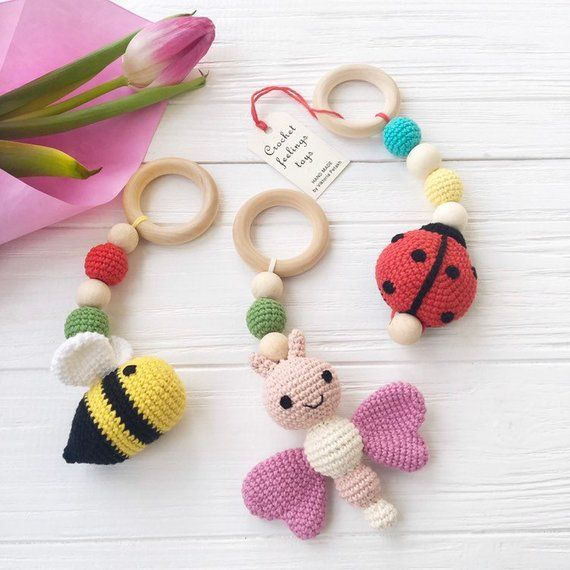 Baby gym toys crochet set of 3 teething toy Play gym toys Activity center toys Crochet ladybug toy Bee stuff animal Butterfly nursery