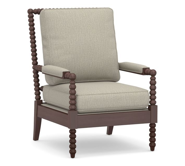 Loralie Upholstered Spindle Armchair Pottery Barn In 2020 Upholstered Arm Chair Armchair Natural Furniture