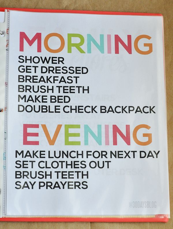 Morning/Evening Daily chore, Money Sheet, etc - minimalist style. Free printable via ThirtyHandmadeDays.com