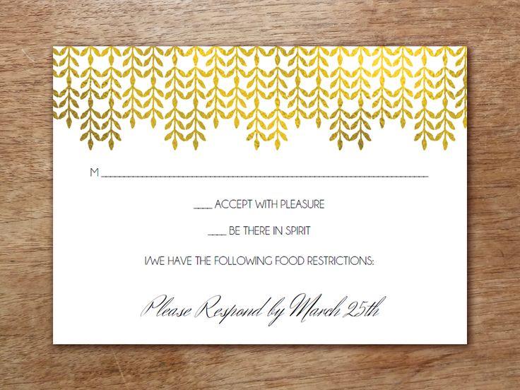 Printable Wedding Invitation Set Glamorous Gold