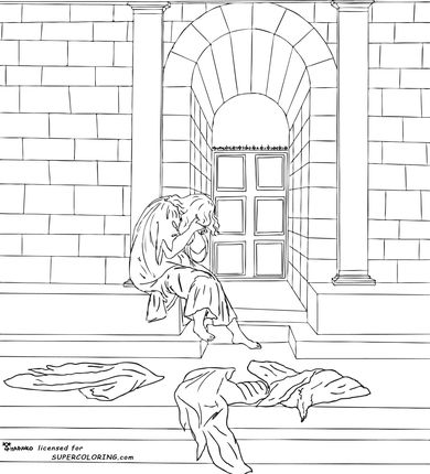 The Melancholy By Sandro Botticelli coloring page SCA