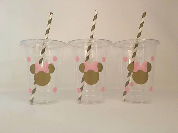 Minnie Mouse rosa y oro partido tazas oro y rosa Minnie