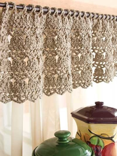 Crochet Curtains -this might be cool in my laundry room...