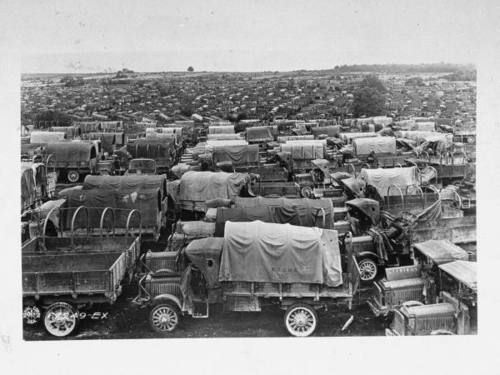 Surplus trucks of the US Army and USMC sitting in France following the cementing of the treaty, 1919