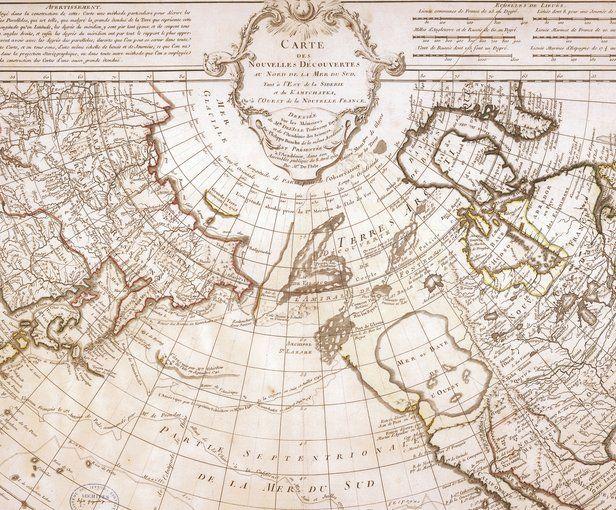 Carte des nouvelles découvertes au nord de la mer du Sud, tant à l'est de la Sibérie et du Kamtchatka, qu'à l'ouest de la Nouvelle–France, 1750