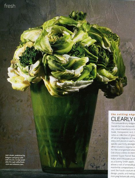 Daniel ost...swirling green and white parrot tulips and green ranunculas