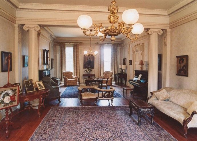 Double Drawing Room in 1840's Greek Revival Mansion at Ruthven Park National Historic Site.
