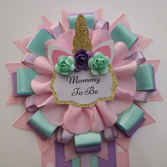 Pretty Unicorn Baby Shower Mommy To Be Corsage Fiesta De