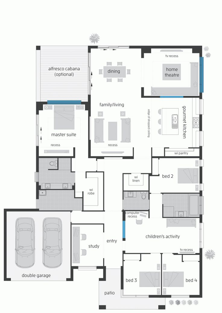 Floor plan LHS No need for the family movie theater. Move the dining area to the right and have a bigger backyard