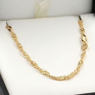 45cm Yellow Gold Singapore Rope Chain Necklace - GN-SN40