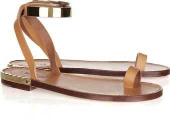 CHLOE-Metal and Leather Sandals
