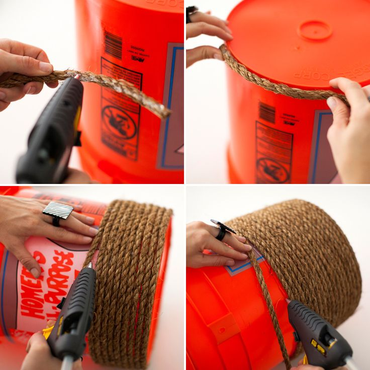 Wrap an orange bucket in rope to make the base for a mini ottoman.