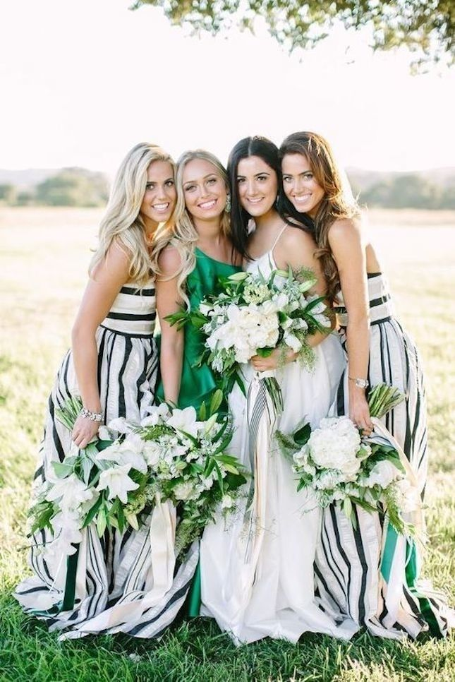 Mix stripes with pops of green for a stylish + sophisticated mash-up for your girls' patterned bridesmaid dresses.
