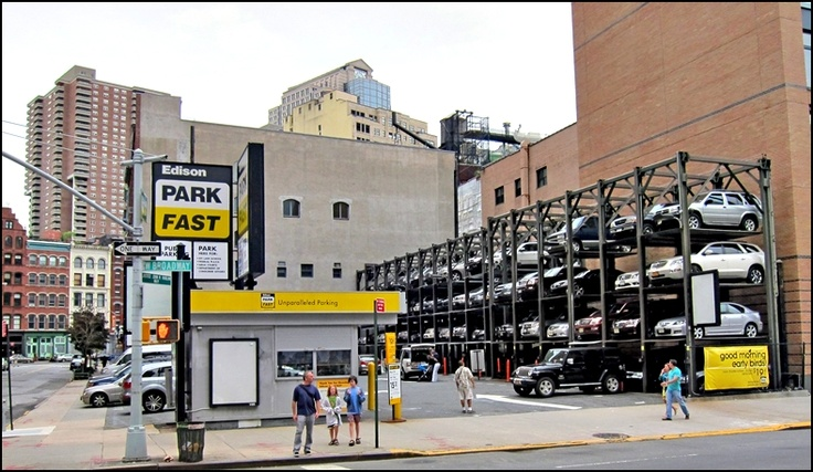 Car parking lift west broadway tribeca new york city for Ny city parking garages