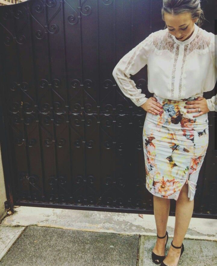 Spring work inspo.  #alannahhill #lace #delicate #blouse #chinesecollar #floral #print #skirt