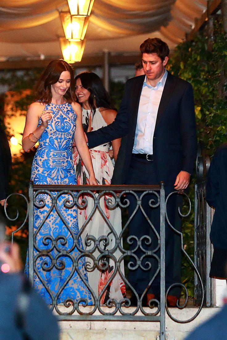 Emily Blunt and John Krasinski celebrate at the rehearsal dinner.  Getty Images  - HarpersBAZAAR.com