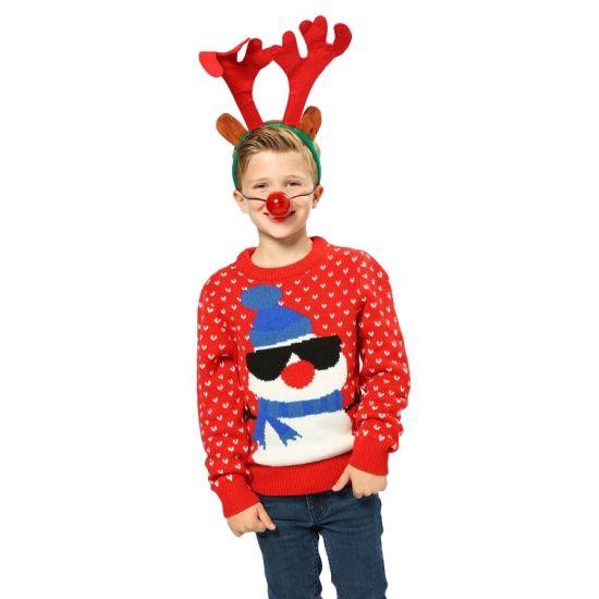 Foute Kersttrui Kind.Kersttrui Rood Met Sneeuwpop Voor Kinderen Rode Kersttrui Met
