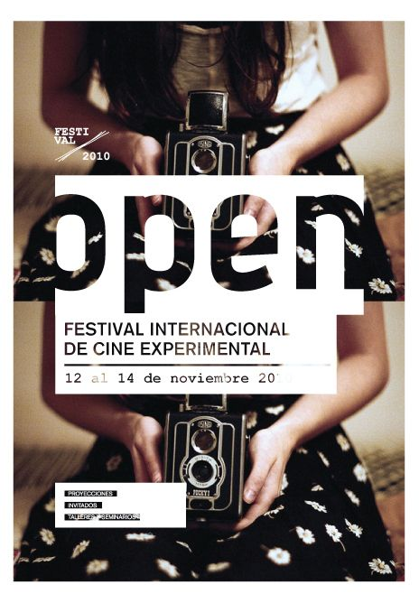 Festival de Cine Experimental. The image, while striking and visually interesting with the unusual crop and duplicate image, is a nice background for the text block that is worked in. The type treatments feel well-thought out and there is a clear sense of hierarchy.