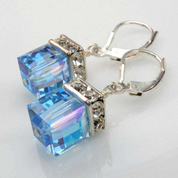 Blue Topaz Crystal Earrings, Aquamarine, Bridesmaid, Wedding, Handmade Jewelry, Spring Fashion, March Birthday. $28.00, via Etsy.
