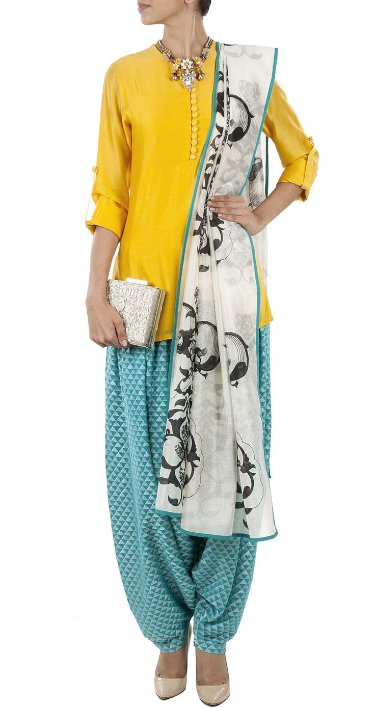 PAYAL SINGHAL Yellow and aqua blue kurta set. Luvely