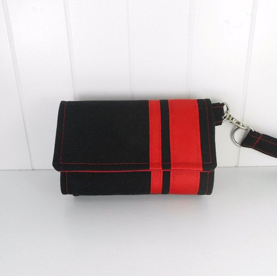 The Errand Runner - Cell Phone Wallet - Wristlet - for iPhone/Android - Black/Red Ribbon