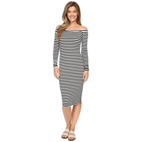 Hard Tail Off Shoulder Dress (Black/White Supplex Stripe) Women's... ($96) ❤ liked on Polyvore featuring dresses, striped dress, black white striped dress, black and white long sleeve dress, form fitting dresses and black and white stripe dress