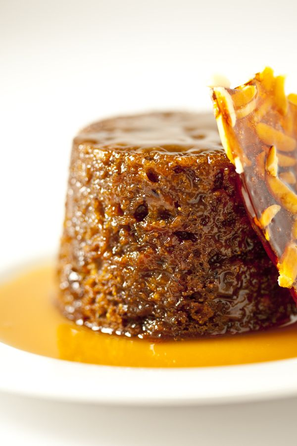 sticky pudding with butterscotch sauce & almond praline....