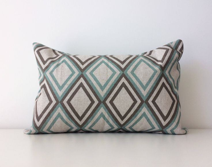 "Annie Eaton Premier Prints Pillow Cover, 12x18"", Accent, Classic, Modern Decor, Designer Fabric, Geometric, Diamonds Neutral Cushion Cover by BlackcatmeowDesigns on Etsy"