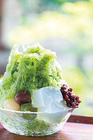 大和茶(やまとちゃ)金時830円に、わらび餅100円と奈良町だんご180円をトッピング