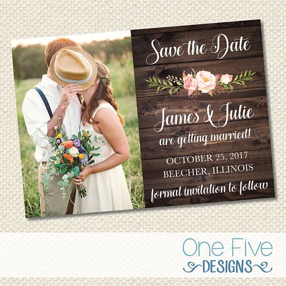 "Rustic Wedding Save The Date with Pink Flowers - Printable (5X7)  ☆☆☆ HOW TO ORDER ☆☆☆  **STEP ONE: Add the item to your cart. Choose a turnaround time and if you want them sent digitally OR printed (keep the first option of quantity at 1). The printed option includes the design fee, envelopes, and USPS Priority shipping with tracking. WE ONLY SHIP PRINTS WITHIN THE UNITED STATES!  **STEP TWO: Please provide the following information in the ""note to seller"" section at checkout:  -Name of…"
