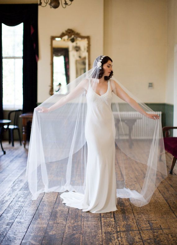 Cathedral Length Veil In Ivory Tulle Juliet Cap Style 1930s Long Wedding