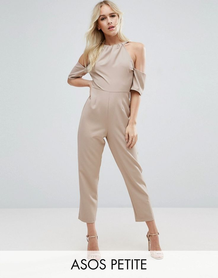 ASOS PETITE Jumpsuit with Cold Shoulder Detail - Gray