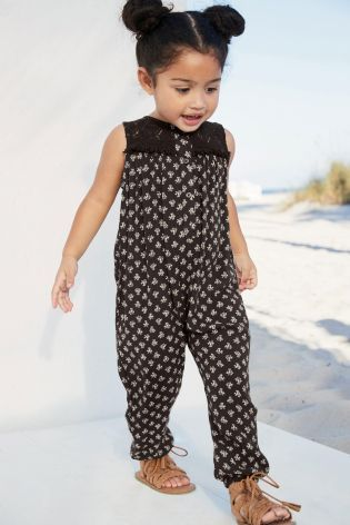 Charcoal Lace Insert Jumpsuit (3mths-6yrs)