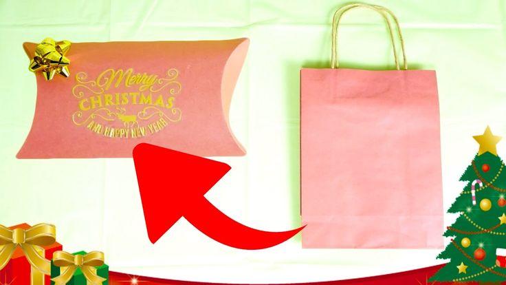 【100均DIY】紙袋からクリスマス用ギフトボックス作ってみた How to make mini gift box from shopping bag