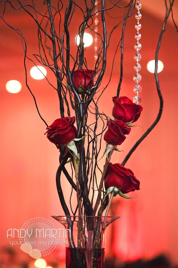 Tall red rose centerpiece masquerade wedding pinterest