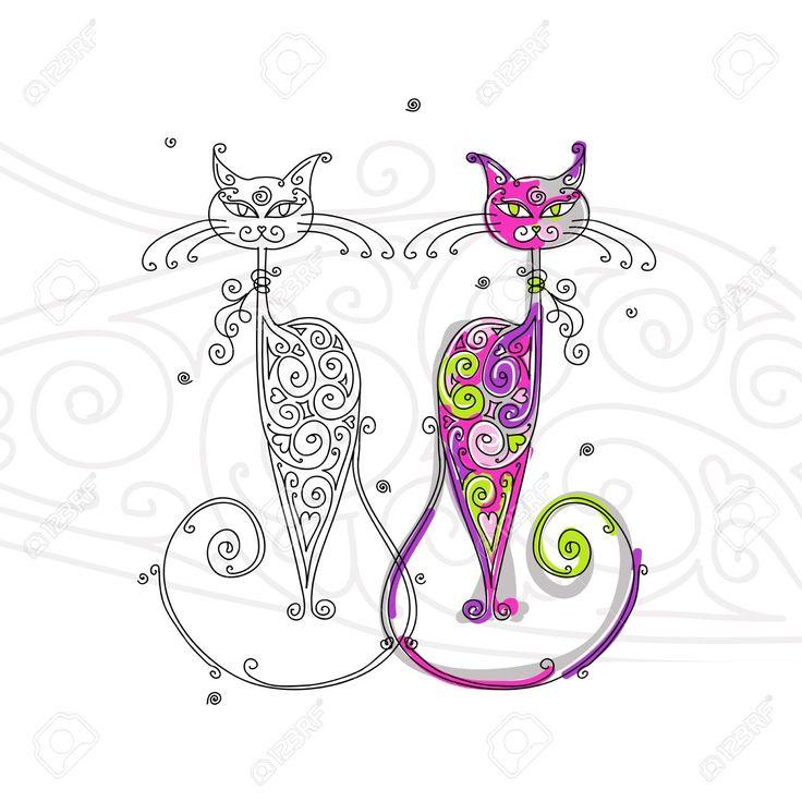 siluetas de gatos enamorados , Buscar con Google