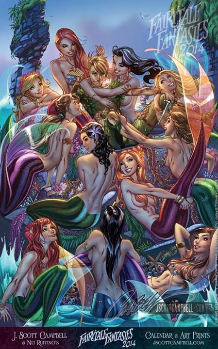 """Neverland's Mermaid Lagoon"" from FairyTale Fantasies 2014 Returning with 12 ALL NEW images in the NEW J. Scott Campbell's FairyTale Fantasies calendar 2014 ! with stunning colors again by Nei Ruffino Signed Calendar and Limited Edition Art Prints Available NOW at www.jscottcampbellstore.com"