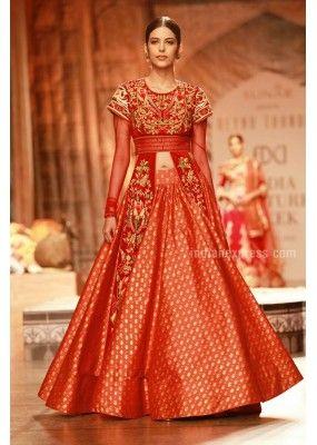 Bollywood Replica - Designer Orange Silk Indo-Western Lehenga Suit - 49
