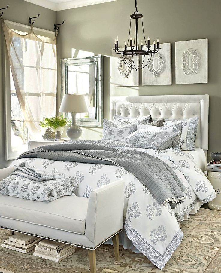 I love grey and white bedroom decor, very relaxing. this light fixture! & the hooks for curtains