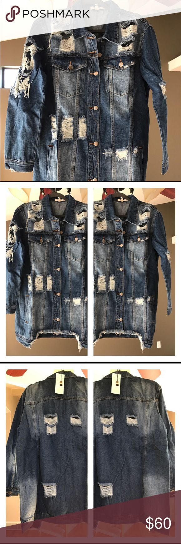 Distressed long jean jacket This distressed jeans jacket is designed by hot and delicious Jackets & Coats Jean Jackets