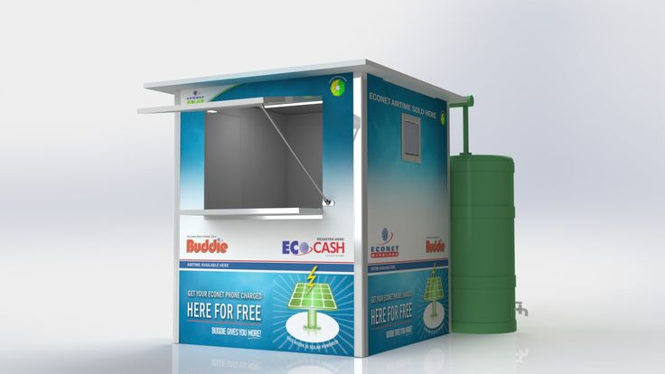 The rain water-harvesting add-on for the Spaza Shop Kiosk comes fully-installed as an option for use in rural areas where access to water may be limited. The harvested water is stored in a tank and can then be used for any purpose.
