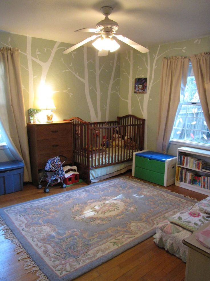 Birch Tree Forest: Inexpensive Nursery Mural in Green & White {The Abundant Wife}
