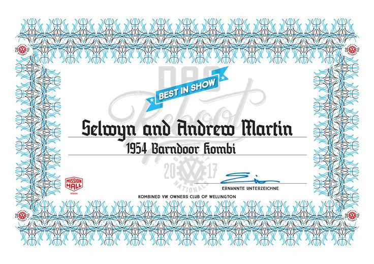 Certificate. Event material from the 2017 New Zealand Volkswagen Nationals in Wellington.
