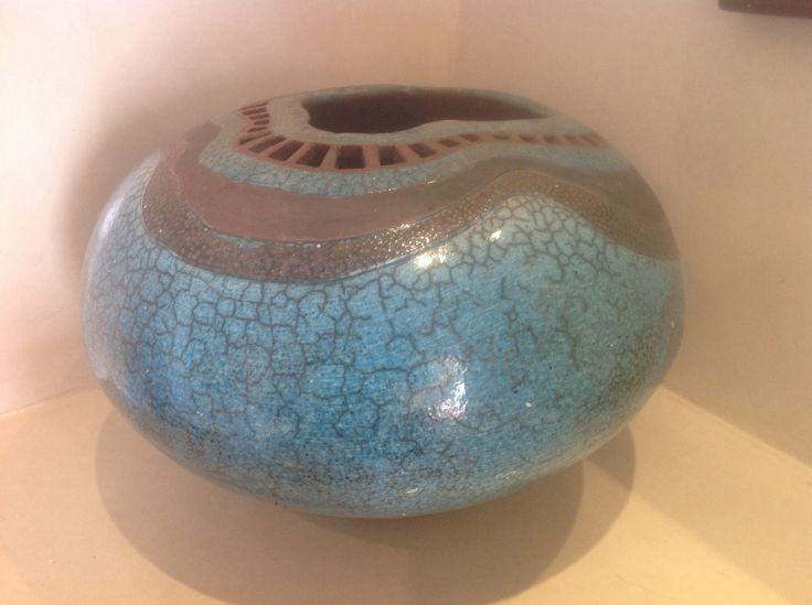 Raku pot with copper and cobalt